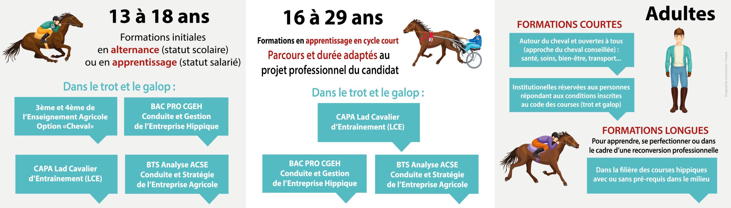 Infographie formations cheval Ecole des Courses Hippiques AFASEC